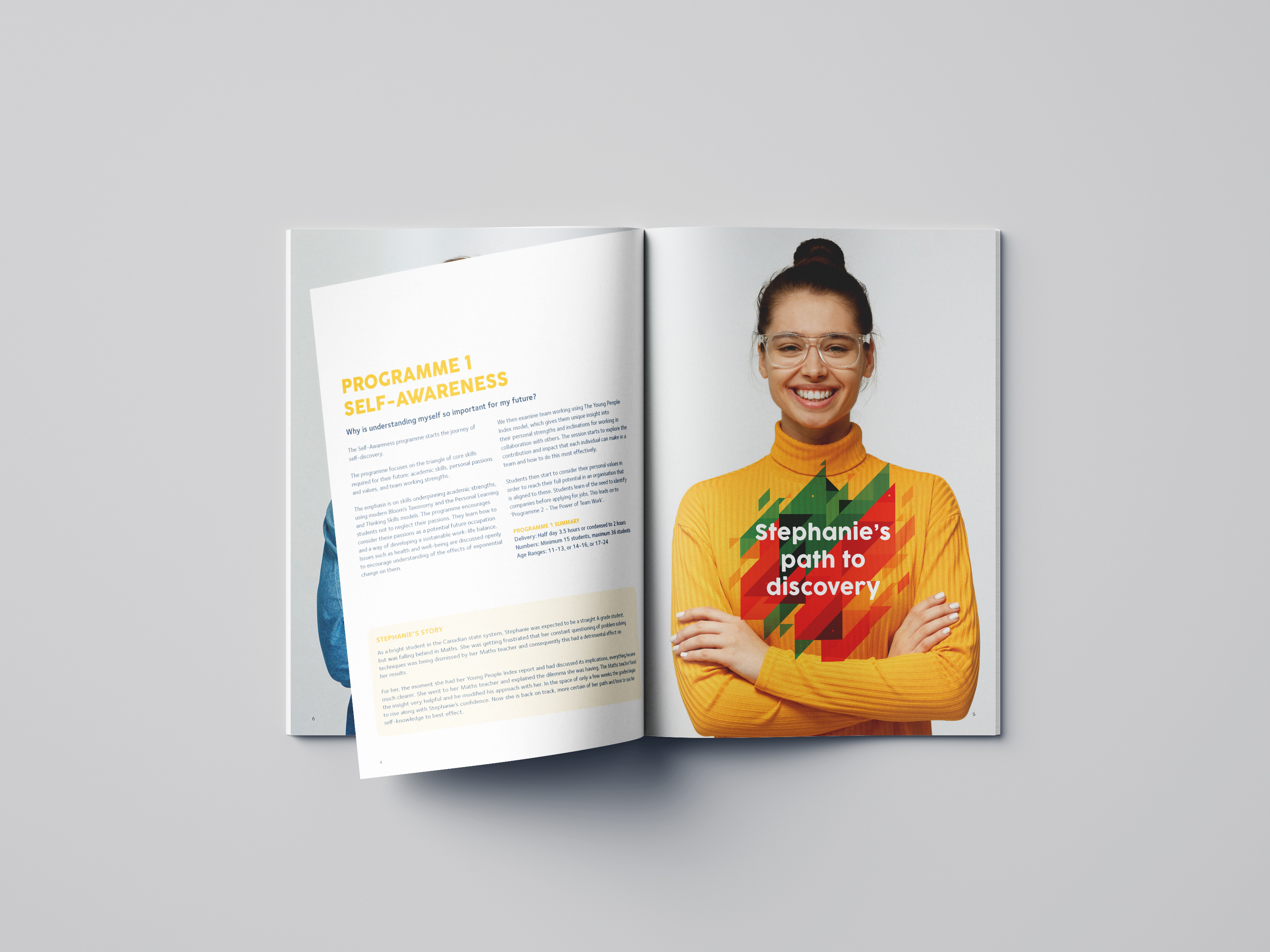 YPI brochure pages with young girl smiling