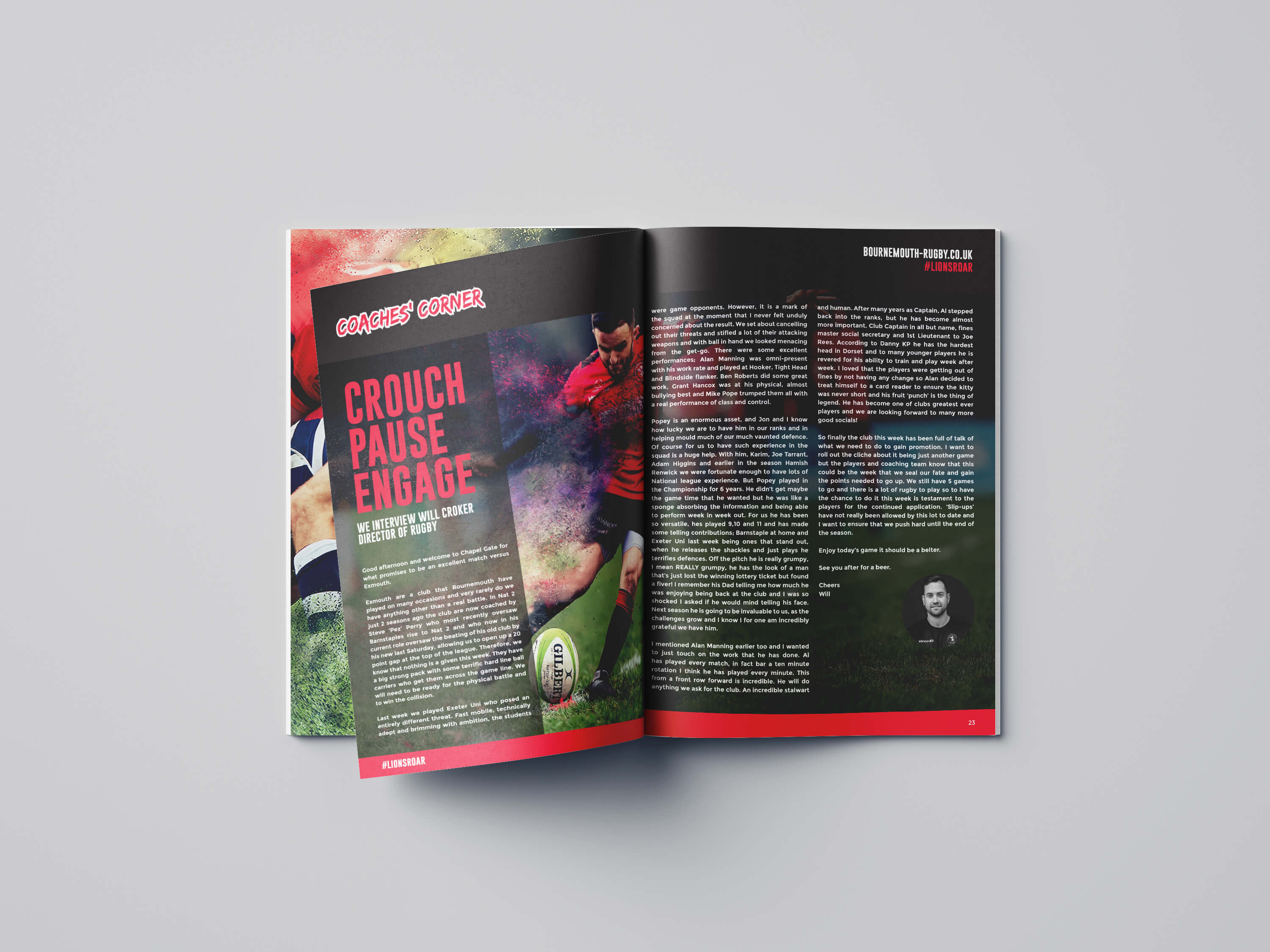 Bournemouth Rugby Match Day Programme Inside Pages