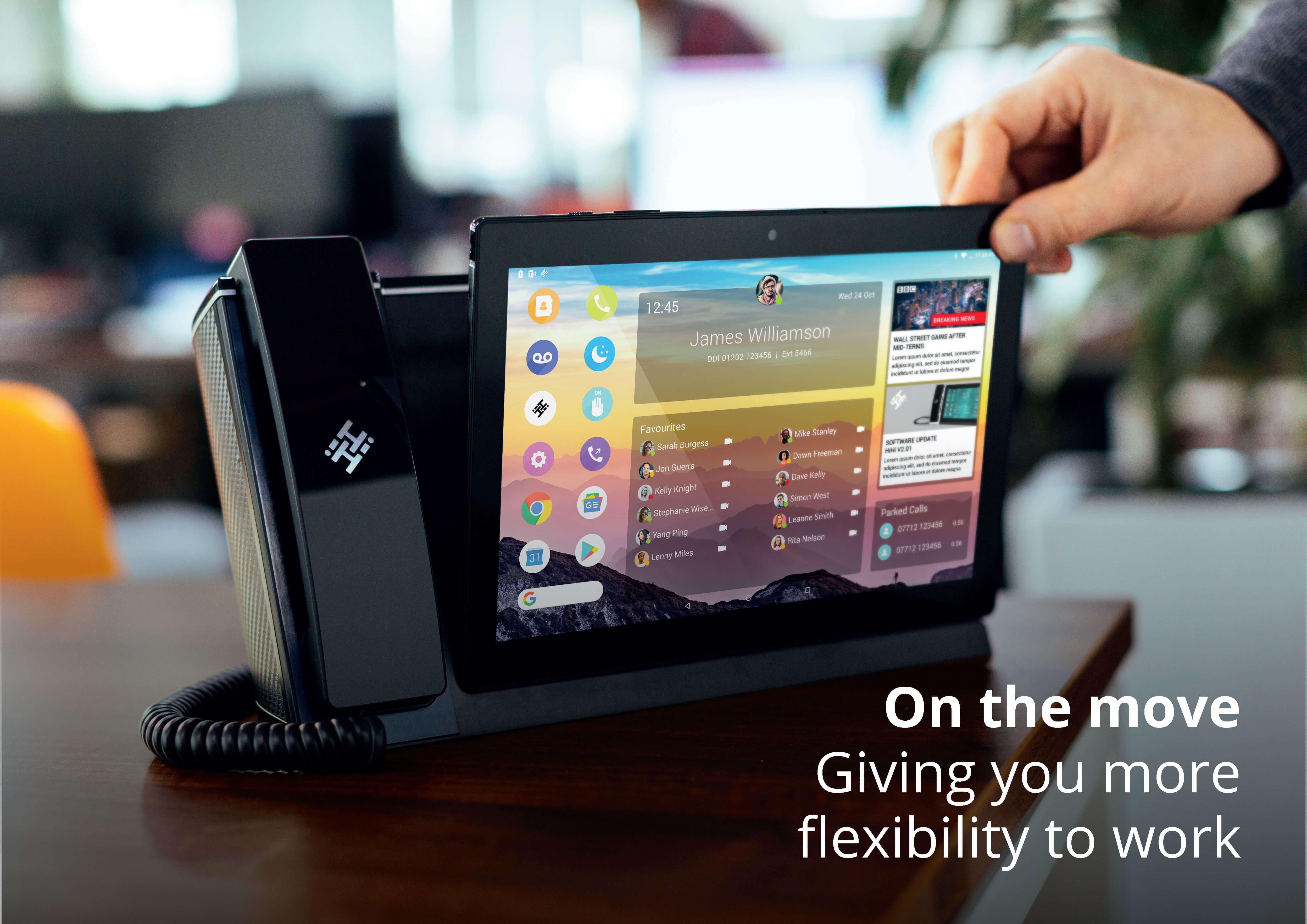 Tilted HiHi2 Business Phone System with removable tablet