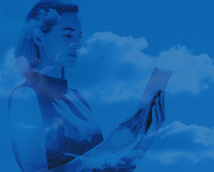 Simplify Consulting Feature Image of women looking at tablet in clouds