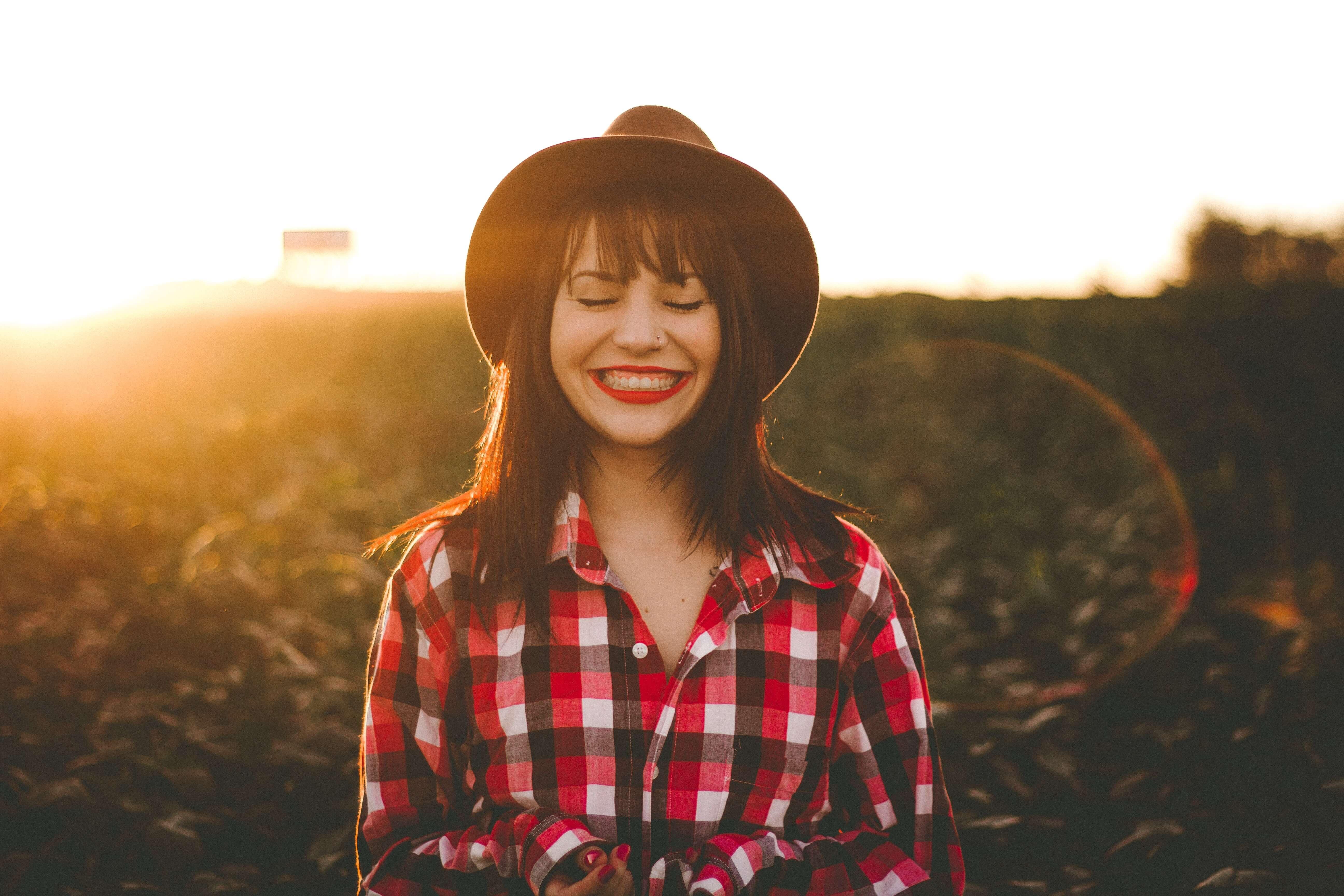 Women in hat really happy